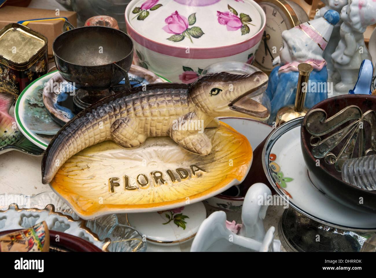 Souvenir from Florida on a bric-a-brac stall in the Grassmarket in Edinburgh, Scotland, UK. - Stock Image