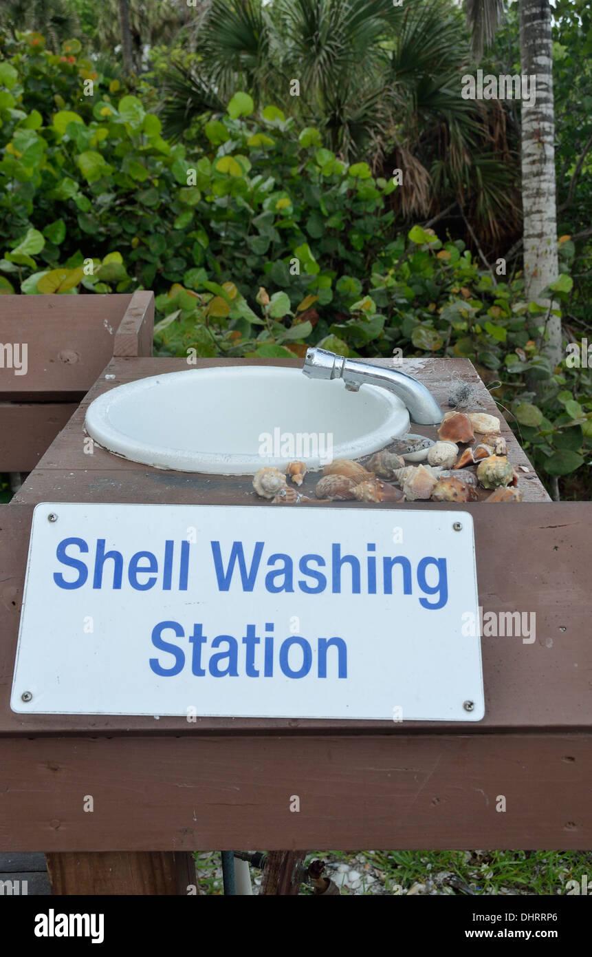 Seashell washing station at the Hilton Resort on Marco Island Stock ...