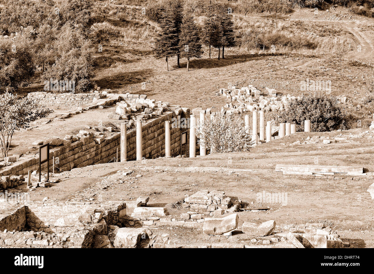 Pilgrimage route Ephesus Turkey sepia - Stock Image