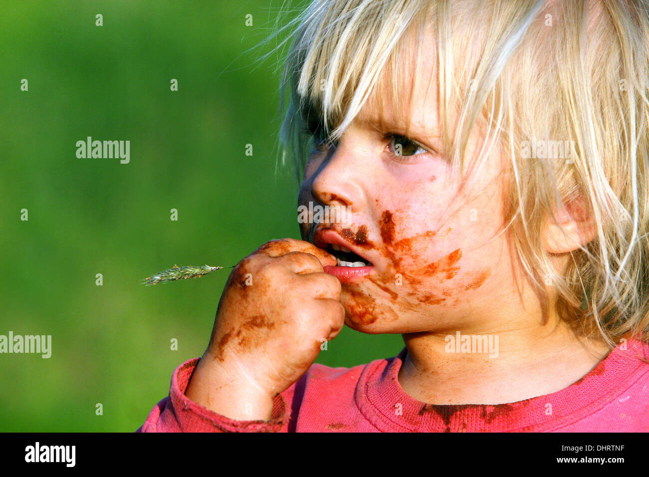A smeared chocolate face, a little blond boy - Stock Image
