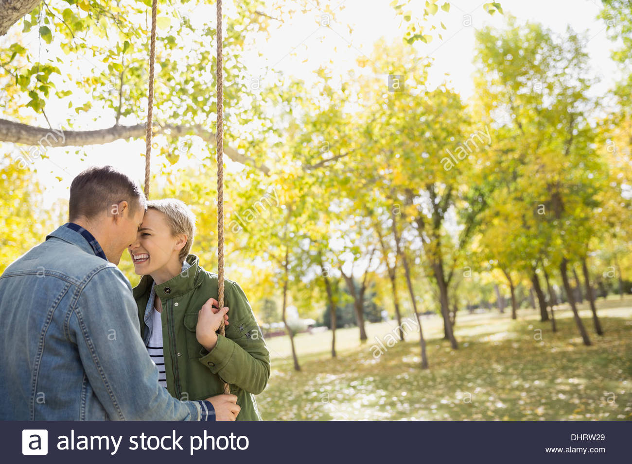Couple spending quality time outdoors - Stock Image