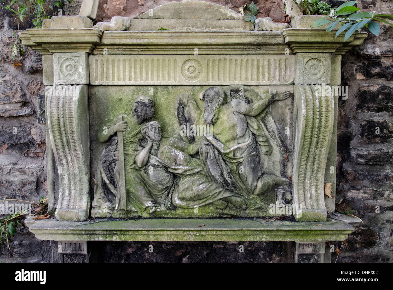 A badly weathered monument in Old Calton Burial Ground, Edinburgh, Scotland, UK. Stock Photo