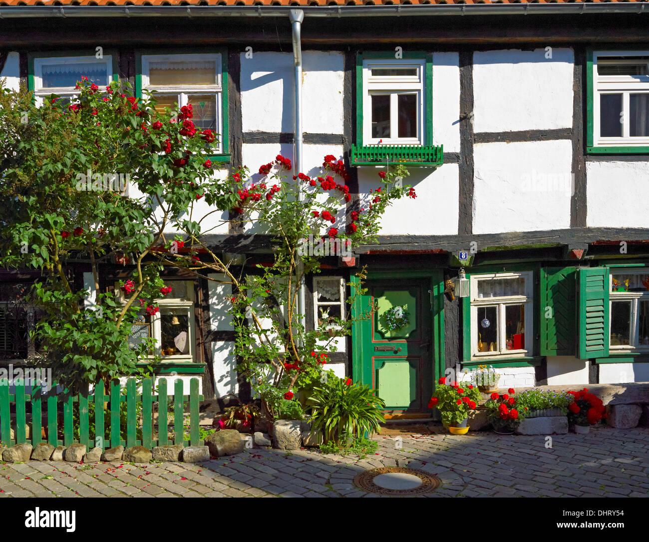 Artisan cottage, Grauer Hof, Halberstadt, Saxony-Anhalt, Germany - Stock Image