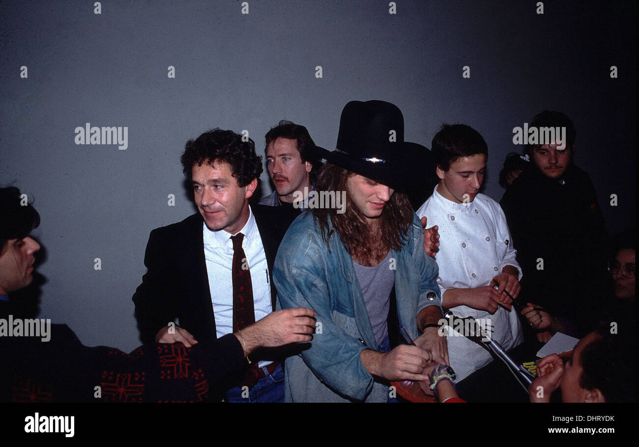 American rock band Bon Jovi in Italy during the mid 80's - Stock Image