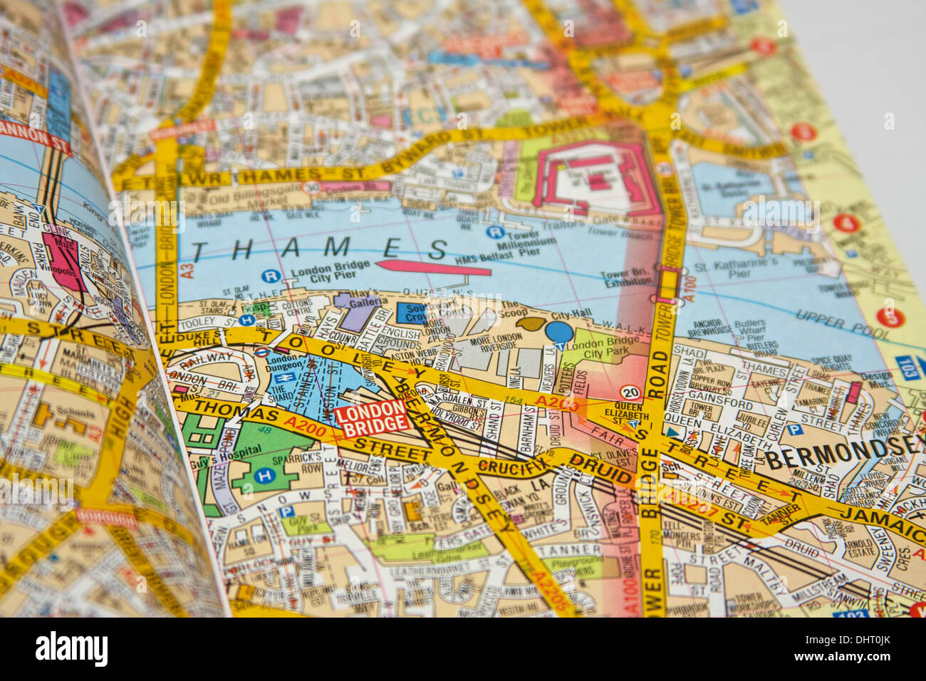 London Map Location.London Street Map With Focus On Location Of The Shard Stock Photo