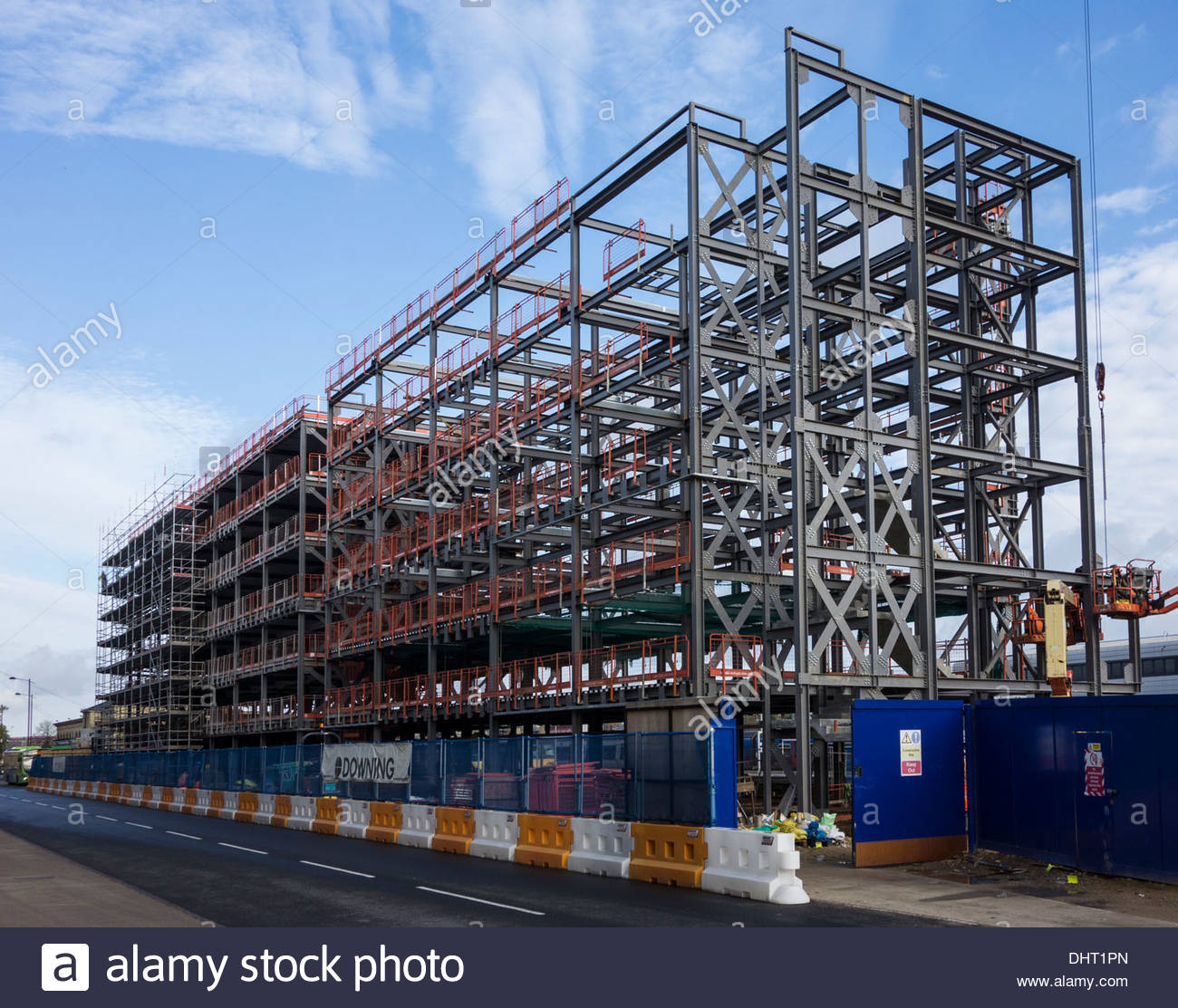 Steelwork for new building near the Railway Station, Cambridge - Stock Image