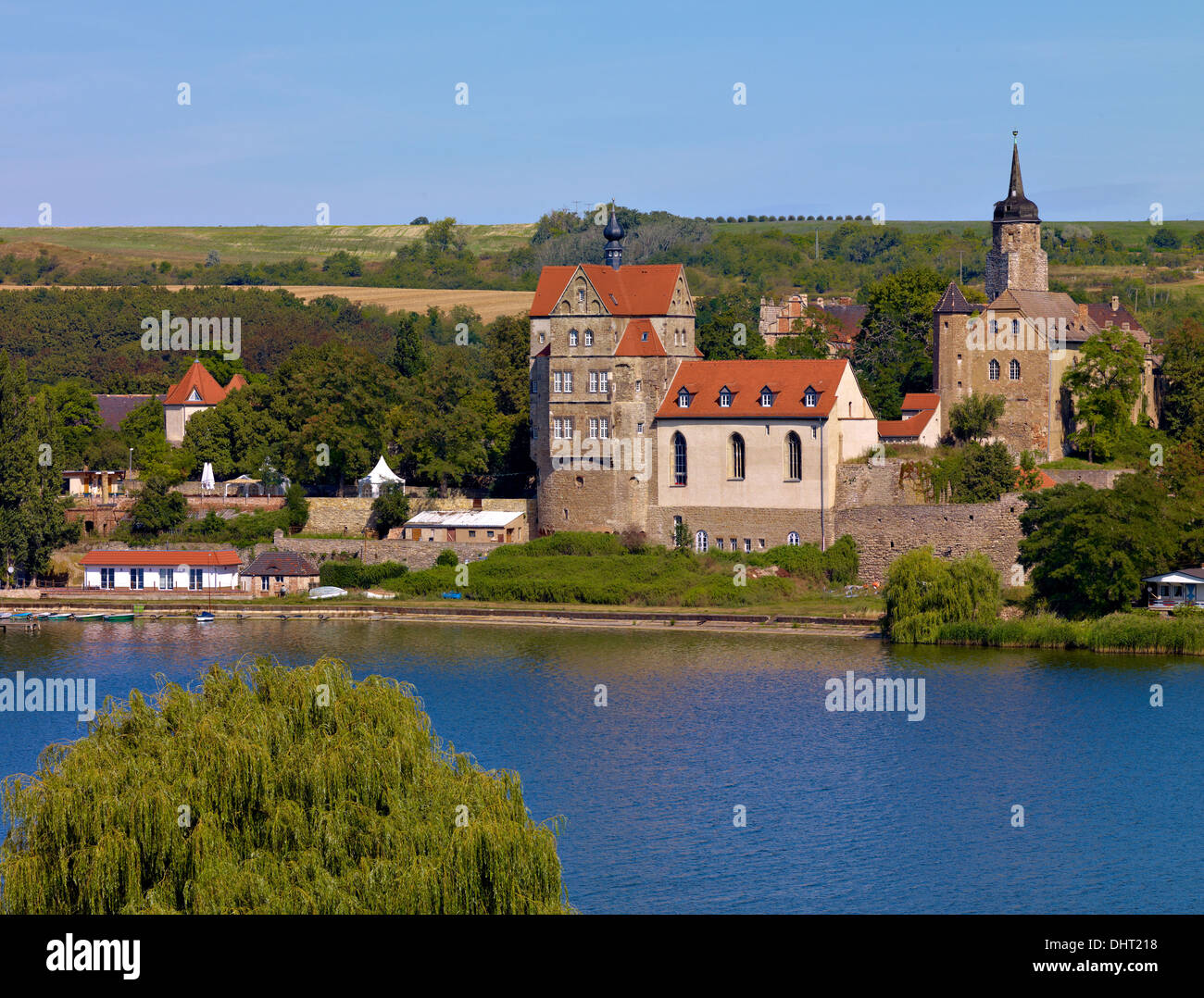 Seeburg Castle at Lake Süßer See, Mansfeld region, Saxony-Anhalt, Germany - Stock Image