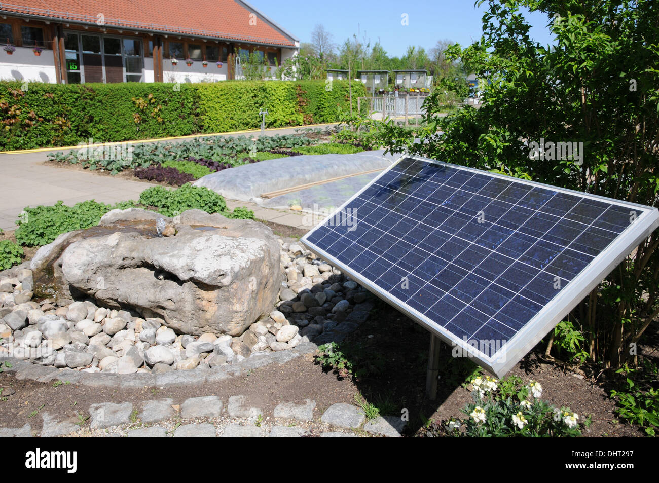 Bubbling water with sunenergy - Stock Image