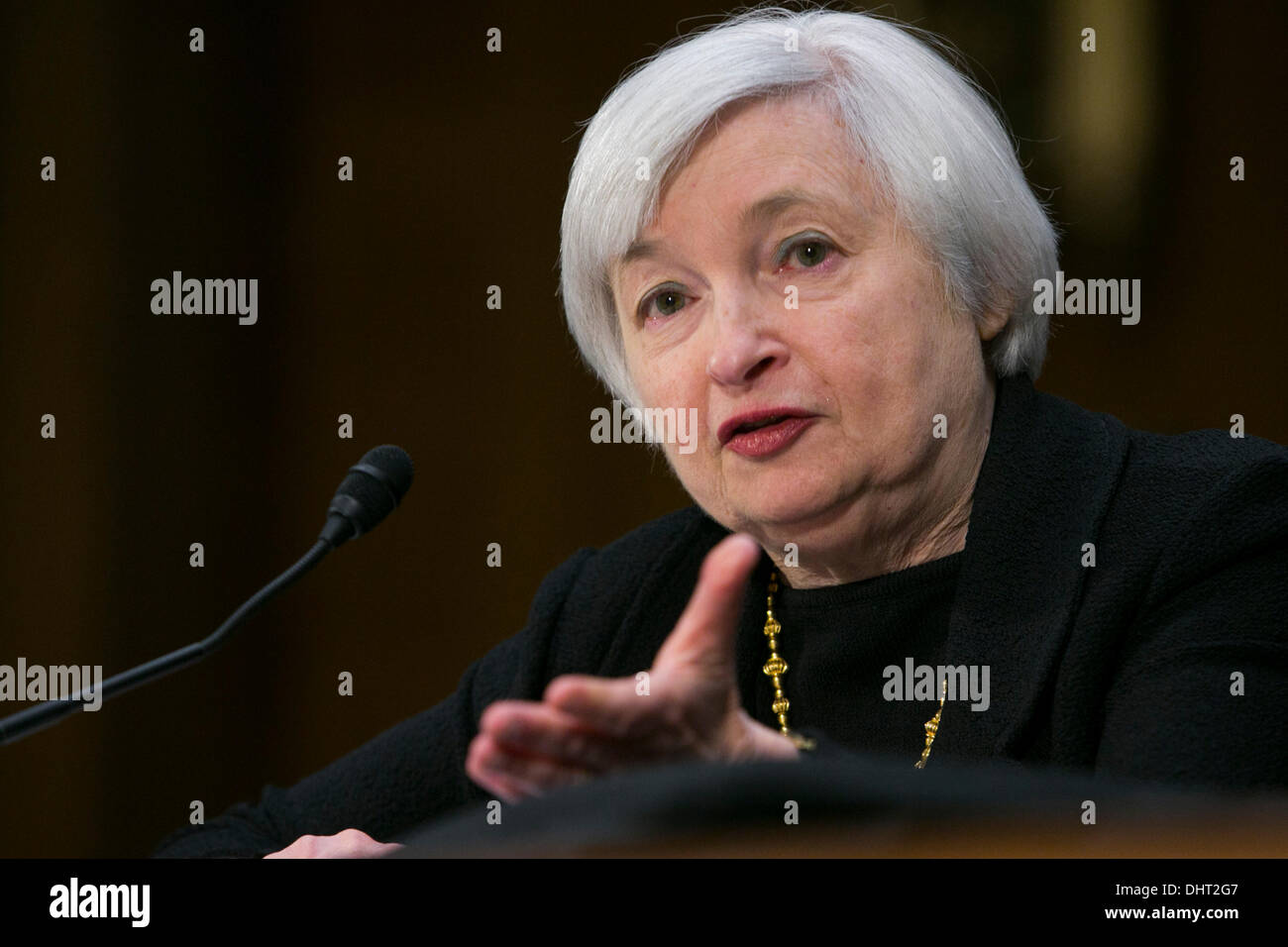 Washington DC, USA. 14th November 2013. Janet Yellen testifies before the Senate Banking Committee during a hearing on her nomination to become Chair of the Federal Reserve Bank on November 14, 2013 in Washington, DC Credit:  Kristoffer Tripplaar/Alamy Live News - Stock Image