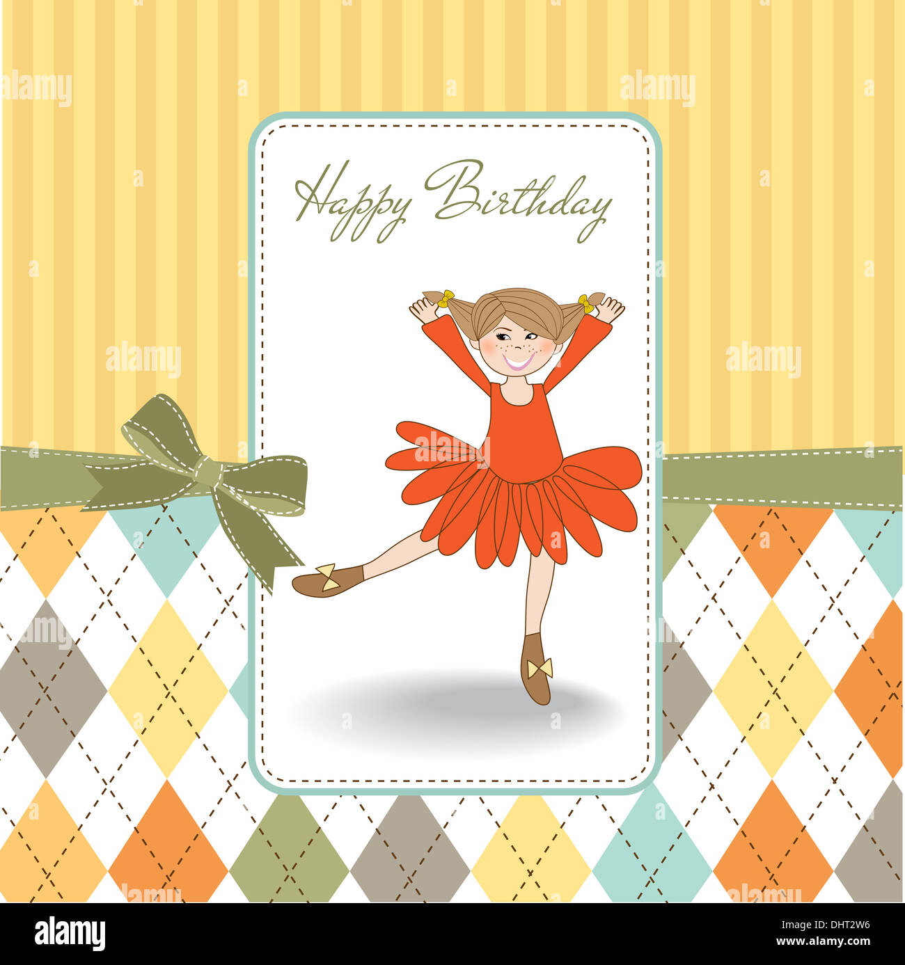 Birthday Greeting Card With Girl Stock Photo 62609378 Alamy