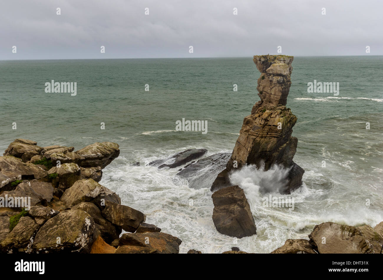 Rough sea at Cabo Carvoeiro, near Peniche, Portugal Stock Photo