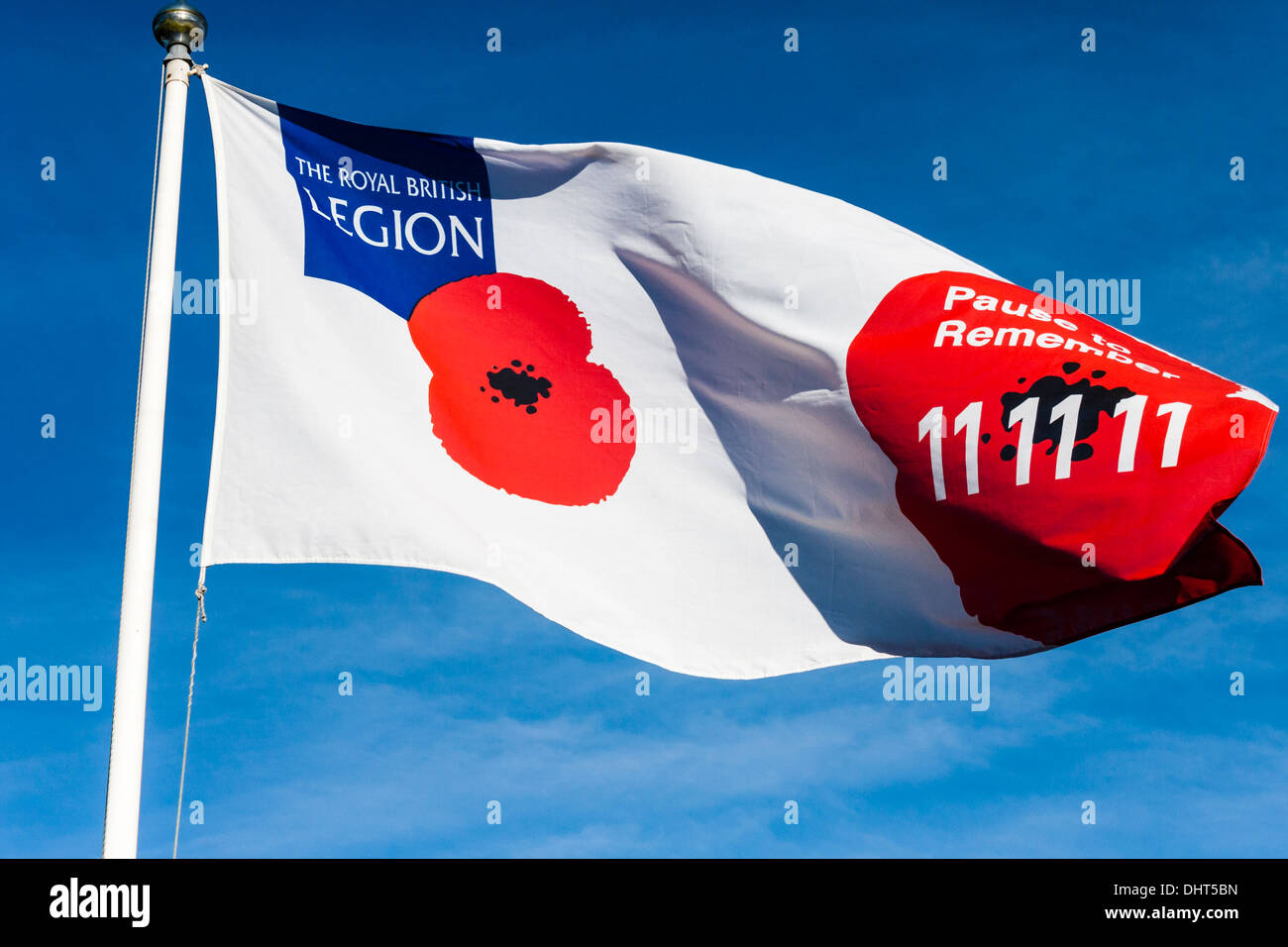 Royal British Legion flag flying in memory of the war dead, Remembrance Sunday - Stock Image