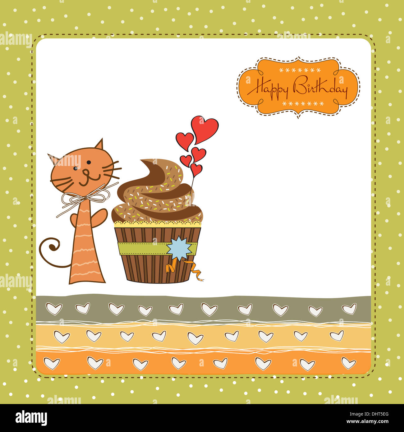 Birthday Greeting Card With Cupcake And Cat Stock Photo 62611432