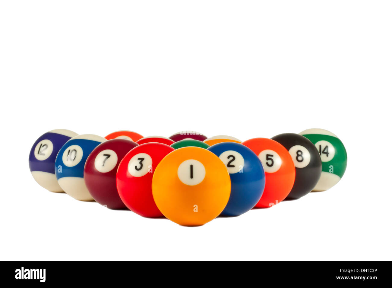 Pictures of Pool Balls isolated with white background. - Stock Image