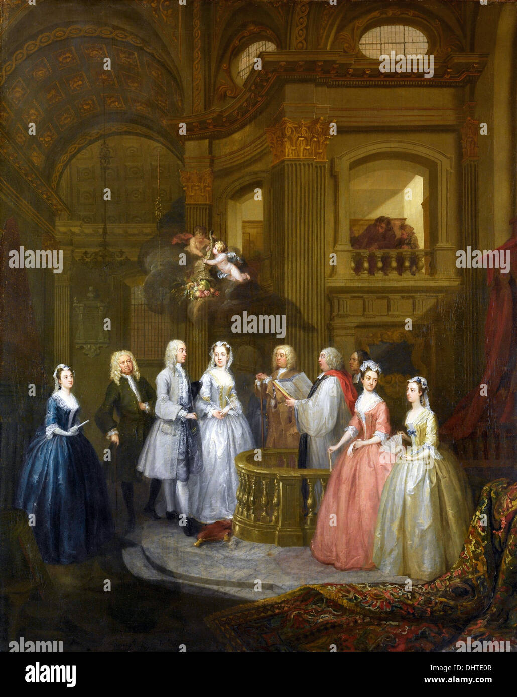 Wedding of Stephen Beckingham and Mary Cox - by William Hogarth, 1729 Stock Photo