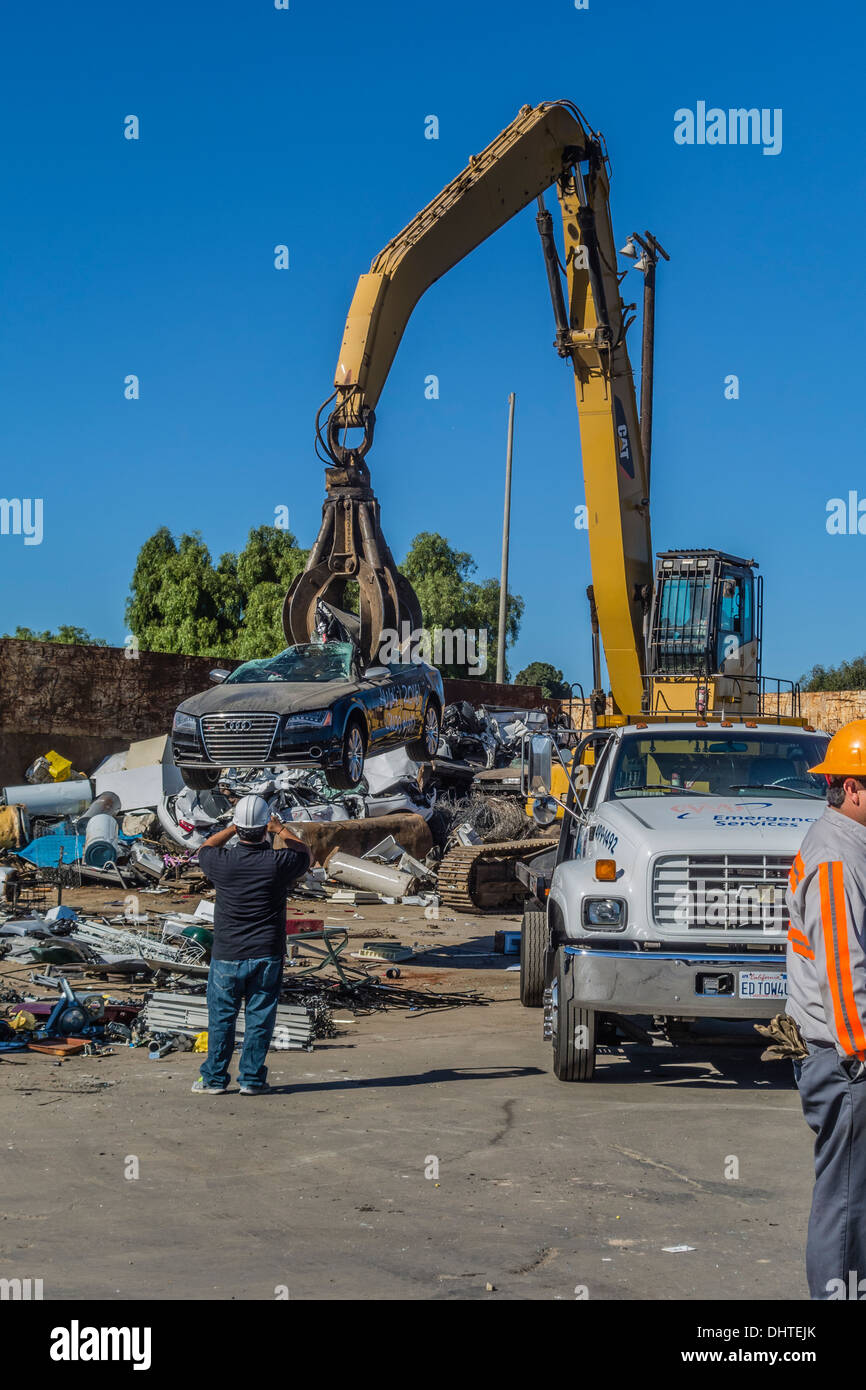 Audi S8 on a tow truck to the salvage yard to be destroyed Stock ...