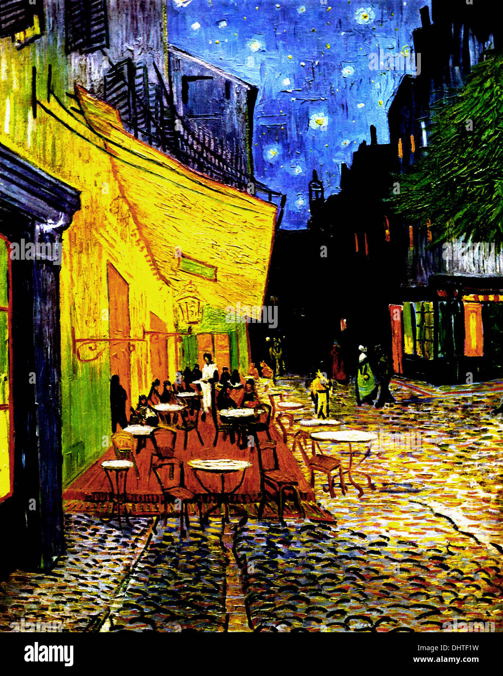 The Café Terrace on the Place du Forum, Arles, at Night  - by Vincent van Gogh, 1888 - Stock Image