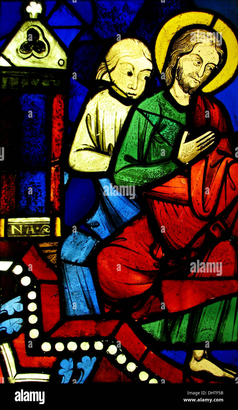 Two Seated Apostles from a Pentecost Scene - ca. 1245–48, stained glass, France - Stock Image