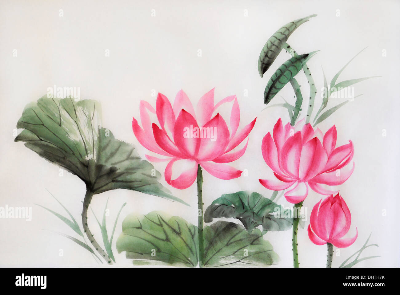 Lotus flower tree plant stock photos lotus flower tree plant stock tree lotuses watercolor painting original art asian style stock image izmirmasajfo