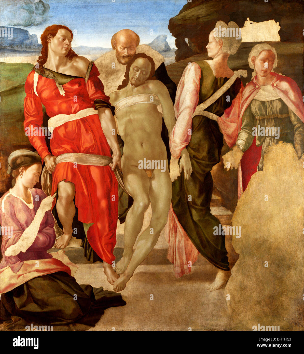 The Entombment - by Michelangelo, 1501 - Stock Image