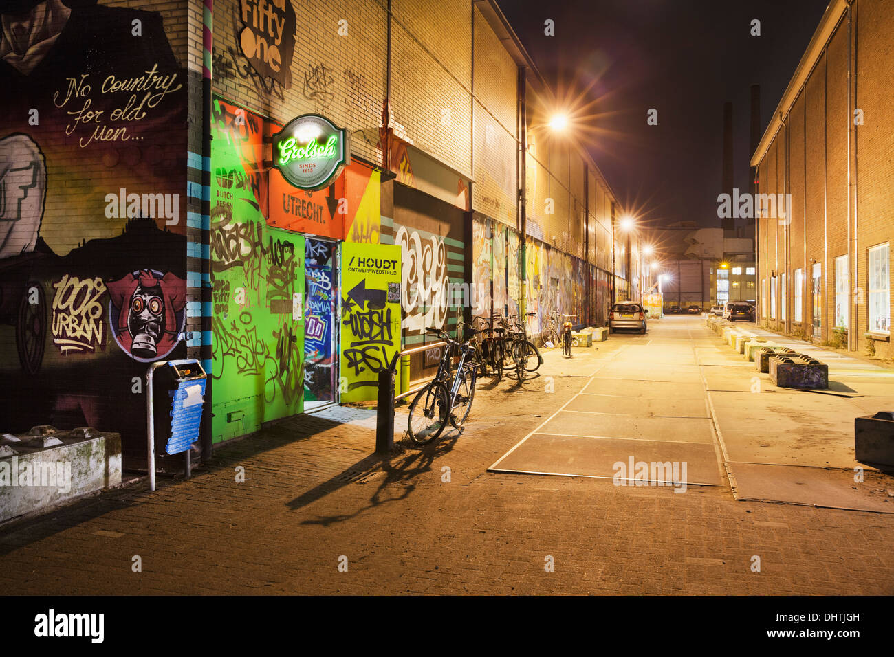 Netherlands, Eindhoven, District called Strijp-S. Entrance of Area Fifty One skatepark. Night - Stock Image