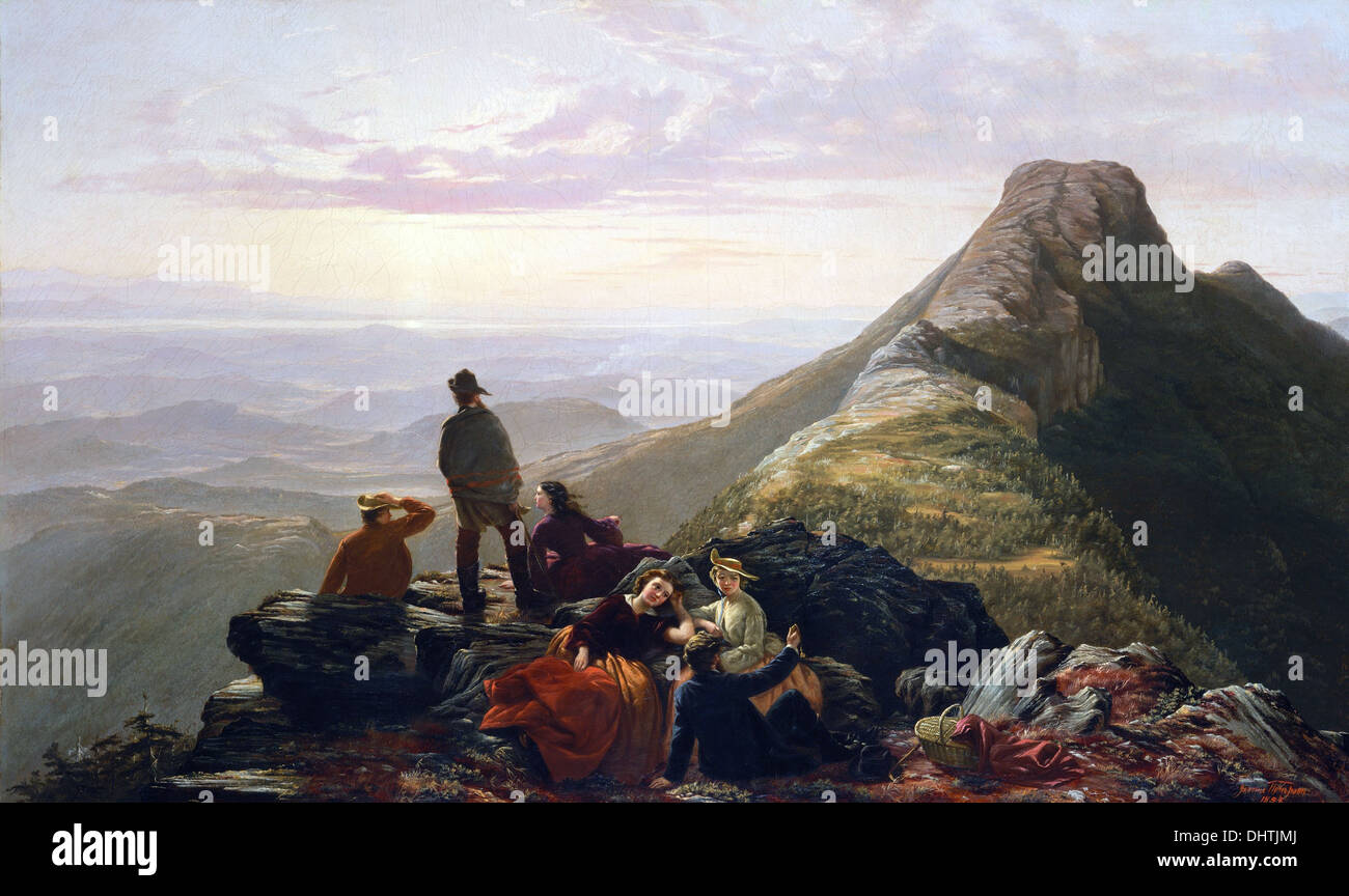 The Belated Party on Mansfield Mountain - by Jerome B. Thompson, 1858, Hudson River School - Stock Image