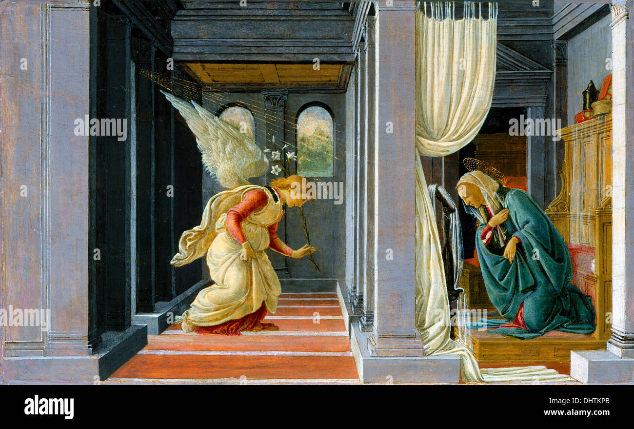 The Annunciation - by Botticelli, 1485 - Stock Image