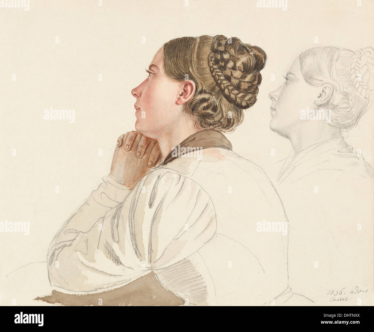 Studies of Woman Praying - by Ludwig Emil Grimm, 1800's - Stock Image