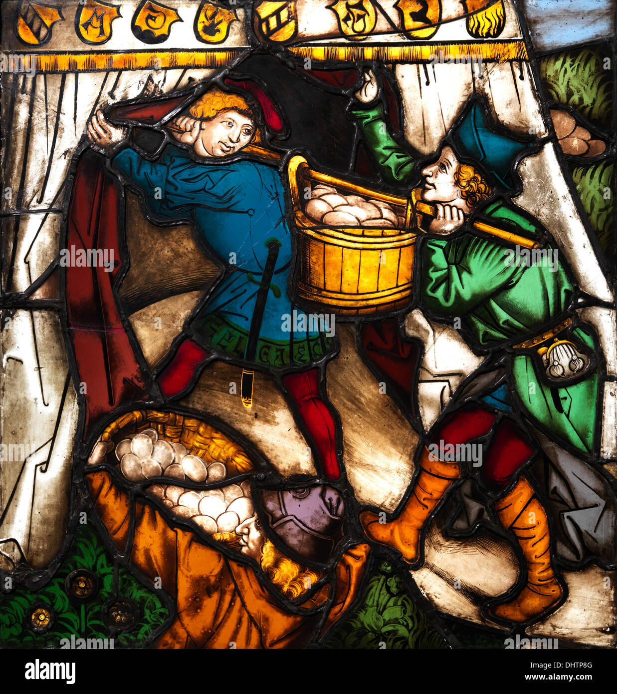 Storing up Manna - stained glass, 1497–99, Germany, Based on a design by Jan Pollack - Stock Image