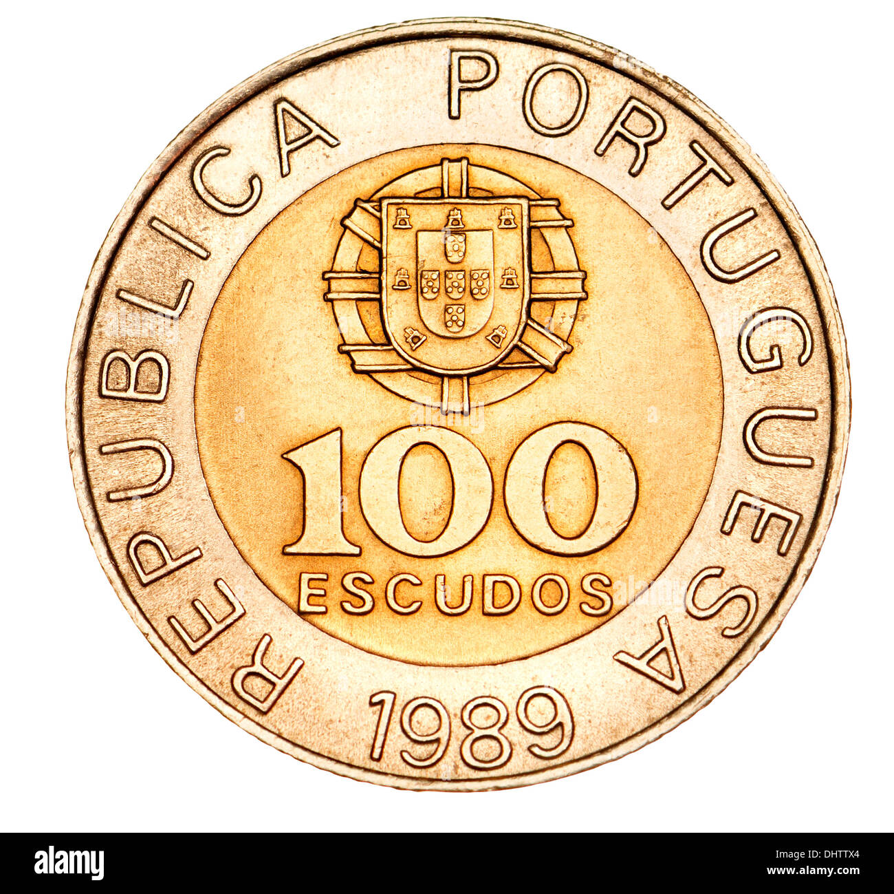Portuguese coin - pre-euro 100 escudos - Stock Image