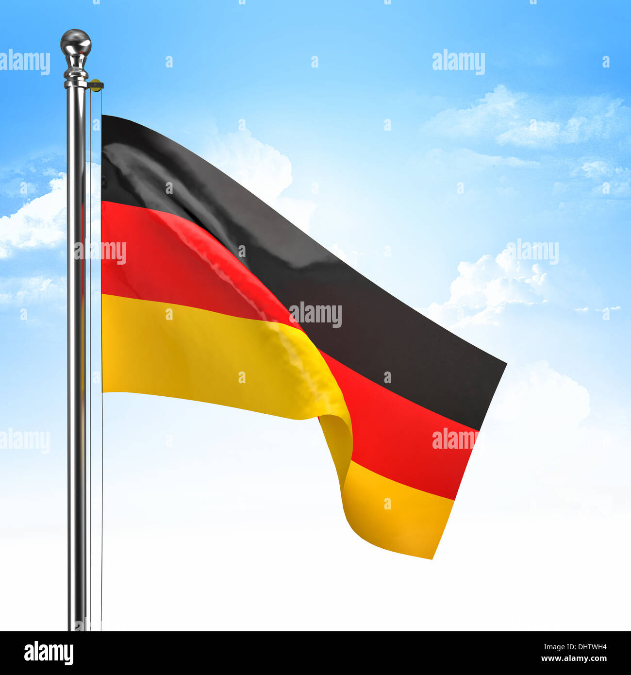 3d german flag and blue sky - Stock Image