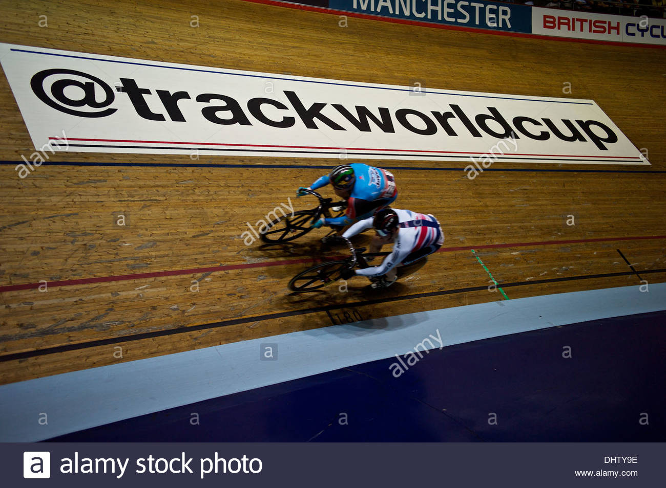 Manchester, 3rd November - Cyclists in action on day three of the UCI Track Cycling World Cup in Manchester.  Stock Photo