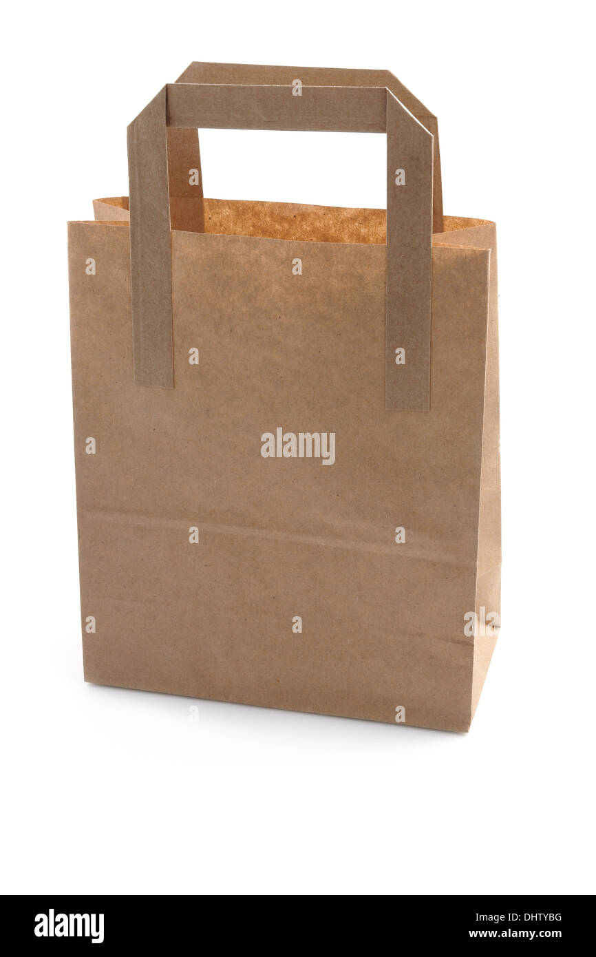 Brown Paper Shopping Bag studio isolated - Stock Image