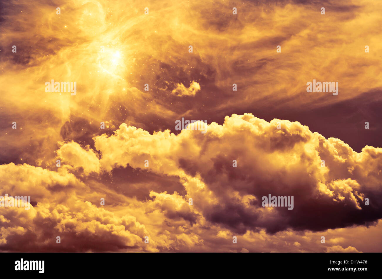 mystical sky with clouds - Stock Image