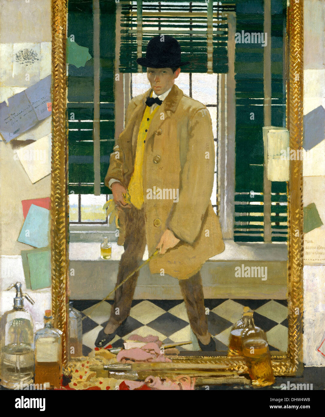Self-Portrait - by William Orpen, 1910 - Stock Image