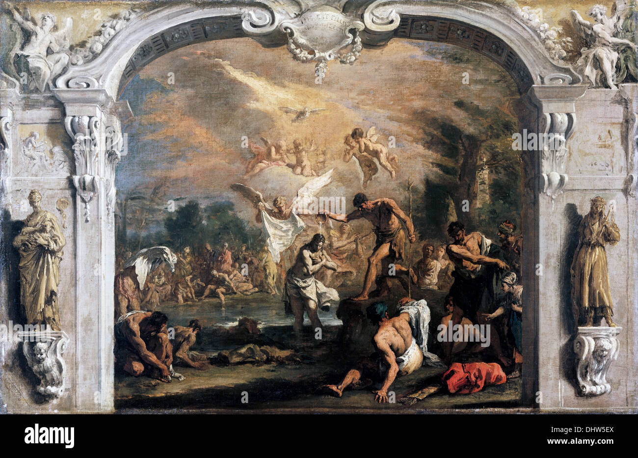 The Baptism of Christ - by Sebastiano Ricci, 1700 Stock Photo