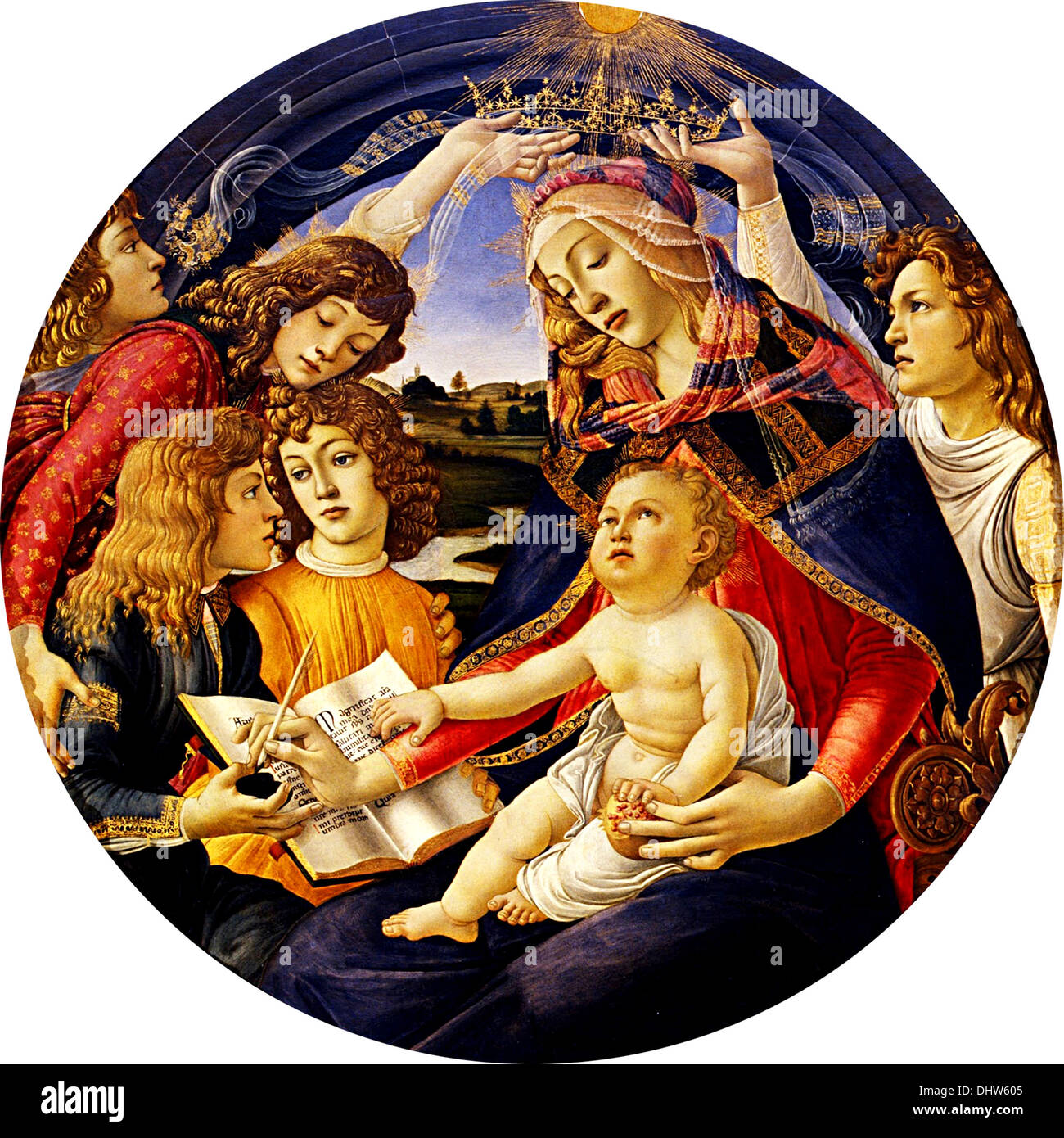 Madonna of the Magnificat - by Sandro Botticelli, 1481 - Stock Image