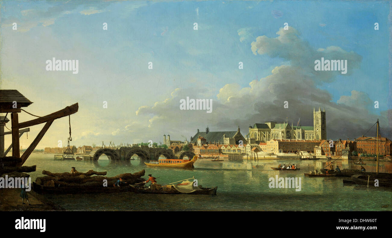 The Building of Westminster Bridge - by Samuel Scott, 1700's - Stock Image