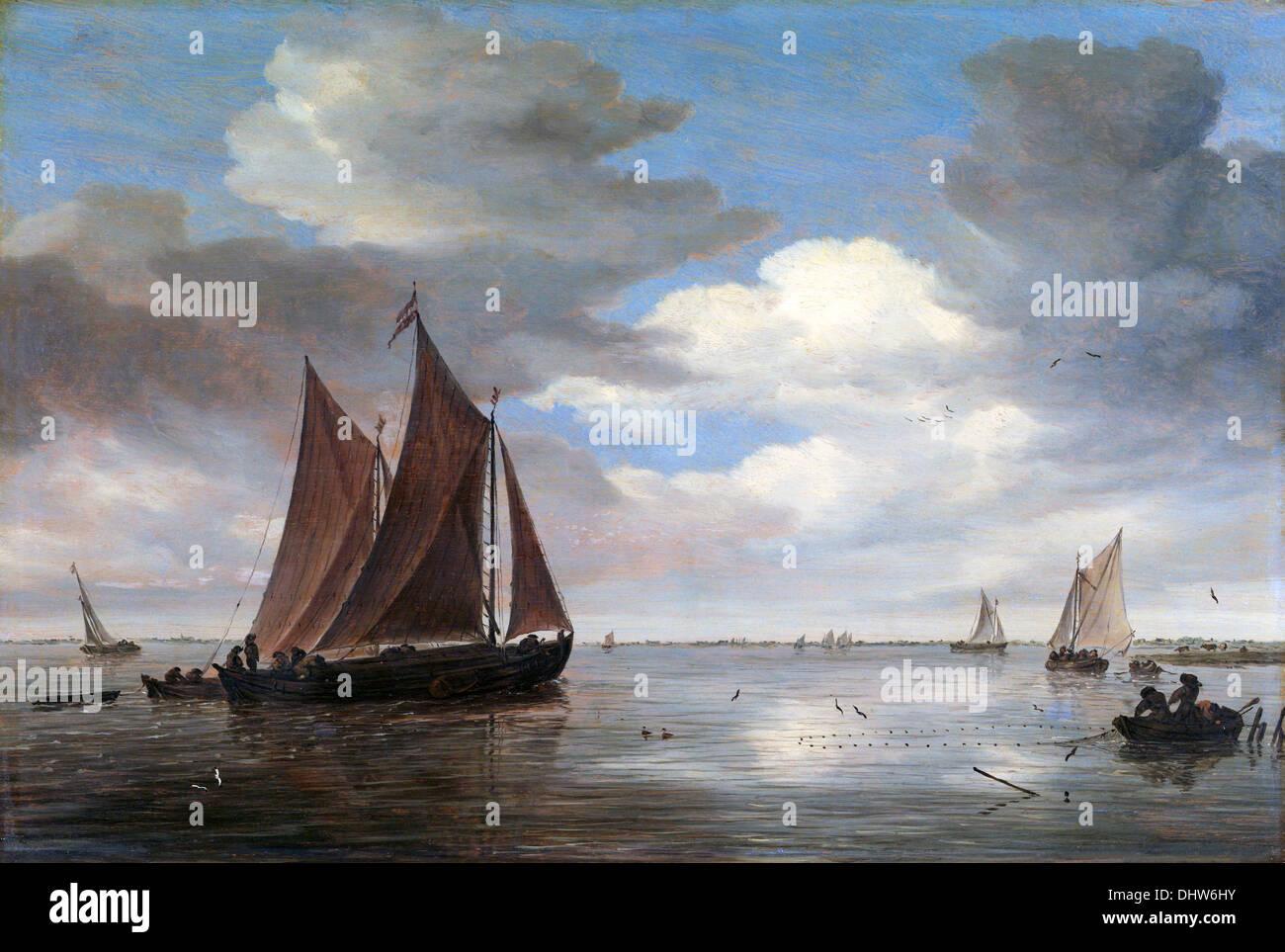 Fishing Boats on a River - by Salomon van Ruysdael, 1660's Stock Photo