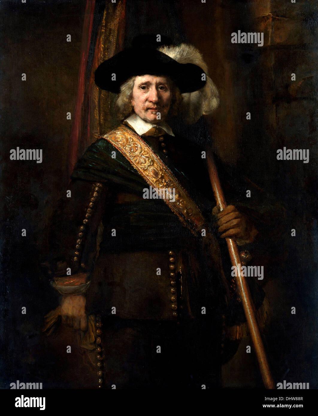 The Standard Bearer - by Rembrandt van Rijn, 1654 - Stock Image