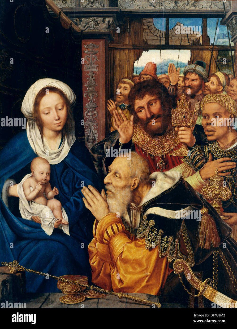 The Adoration of the Magi - by Quentin Metsys, 1526 - Stock Image