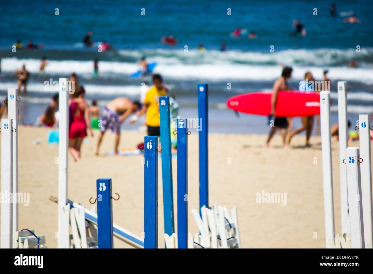 Numbers and colors on Donostia Beach - Stock Image