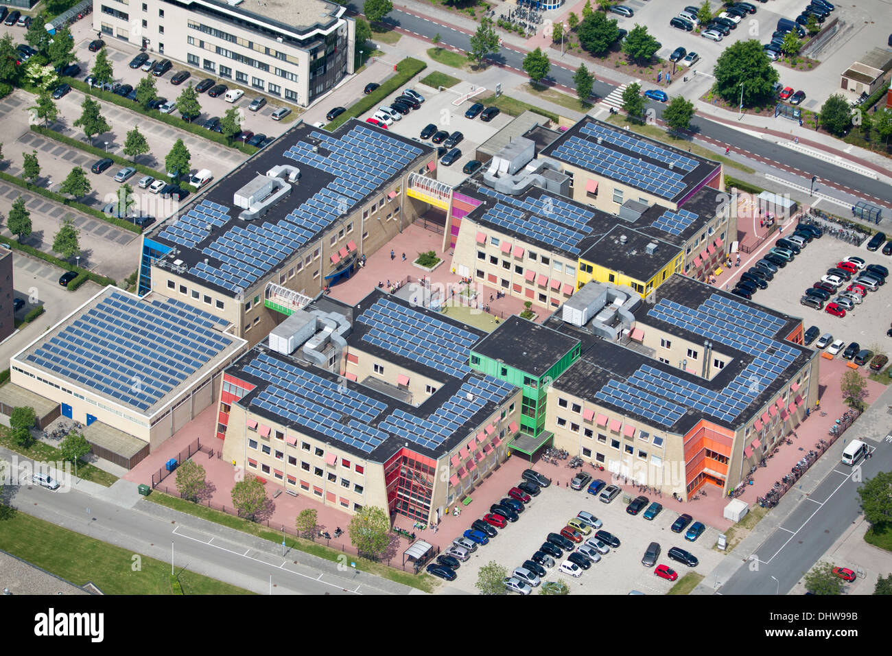 Netherlands, Zwolle, Hengeveld College, The Ambelt, an educational institution for Special and Secondary Education. Aerial - Stock Image