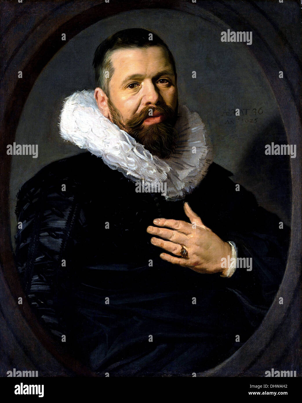 Portrait of a Bearded Man with a Ruff - by Frans Hals, 1625 - Stock Image
