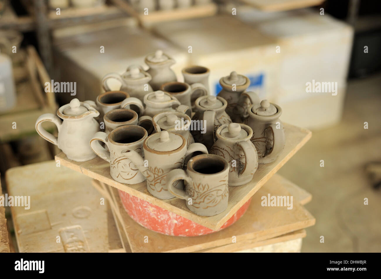 The Tsuboya Pottery district in Naha City, Okinawa is a popular destination for handmade pottery. - Stock Image