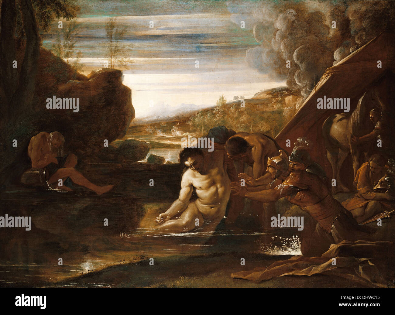 Alexander the Great Rescued from the River Cydnus - by Pietro Testa, 1650 - Stock Image