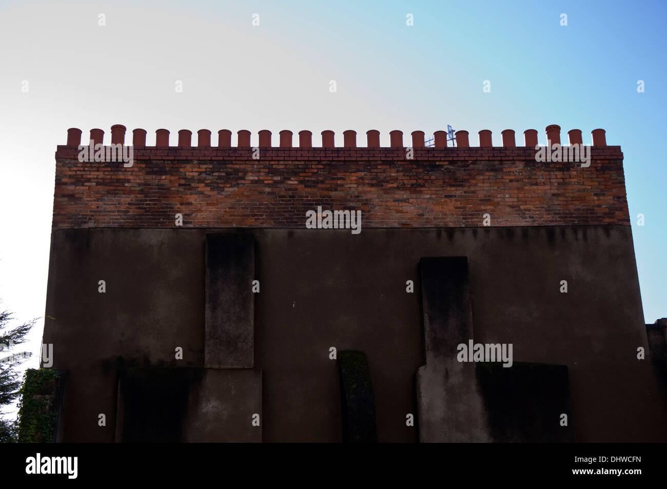 Twenty five 25 chimney pots in a row - Stock Image