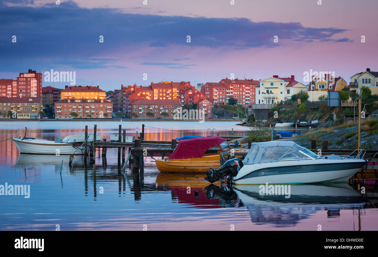 Recreational boats moored in Karlskrona, Sweden - Stock Image