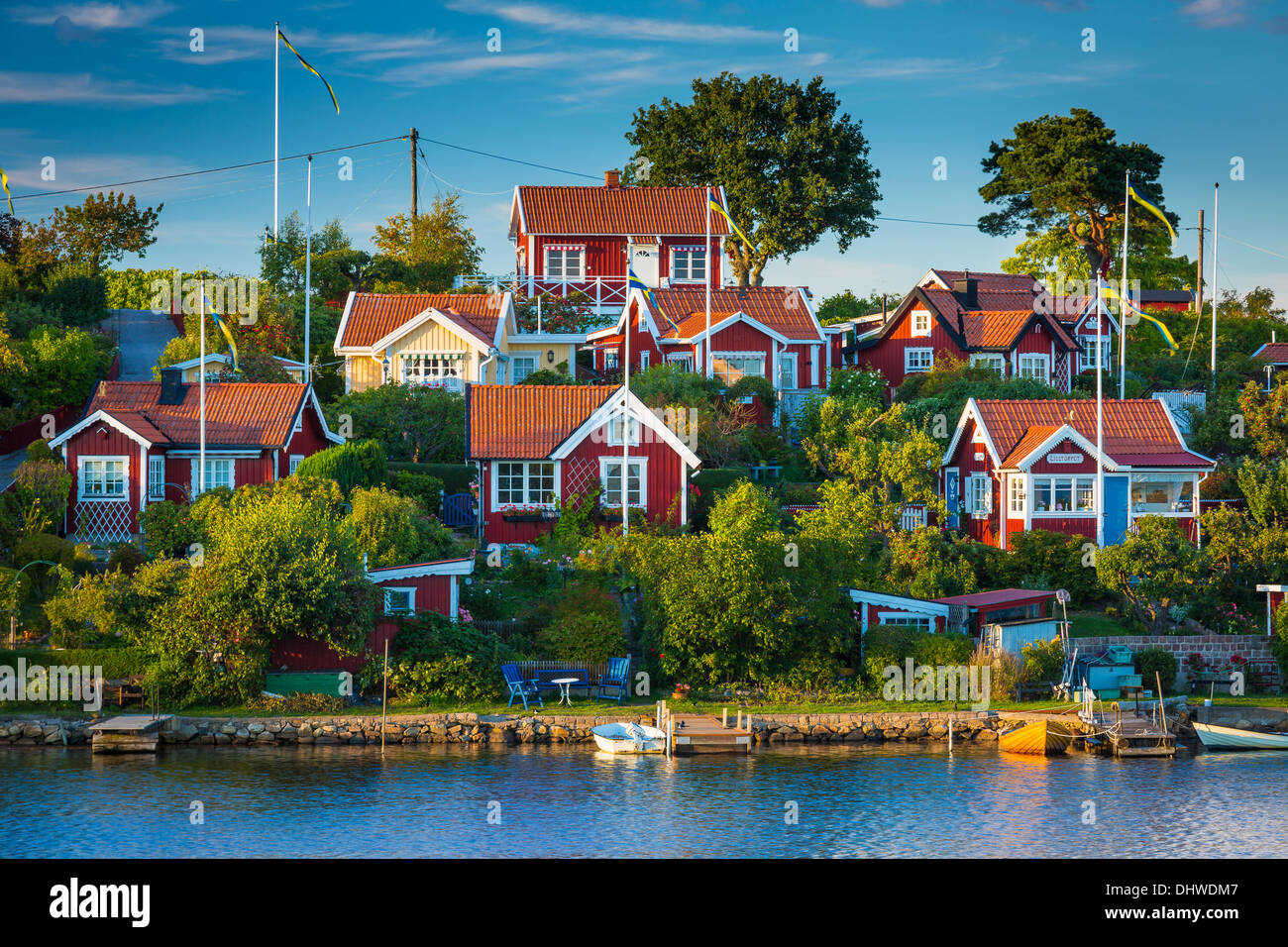 Typical Swedish small cottages in Karlskona, Sweden - Stock Image