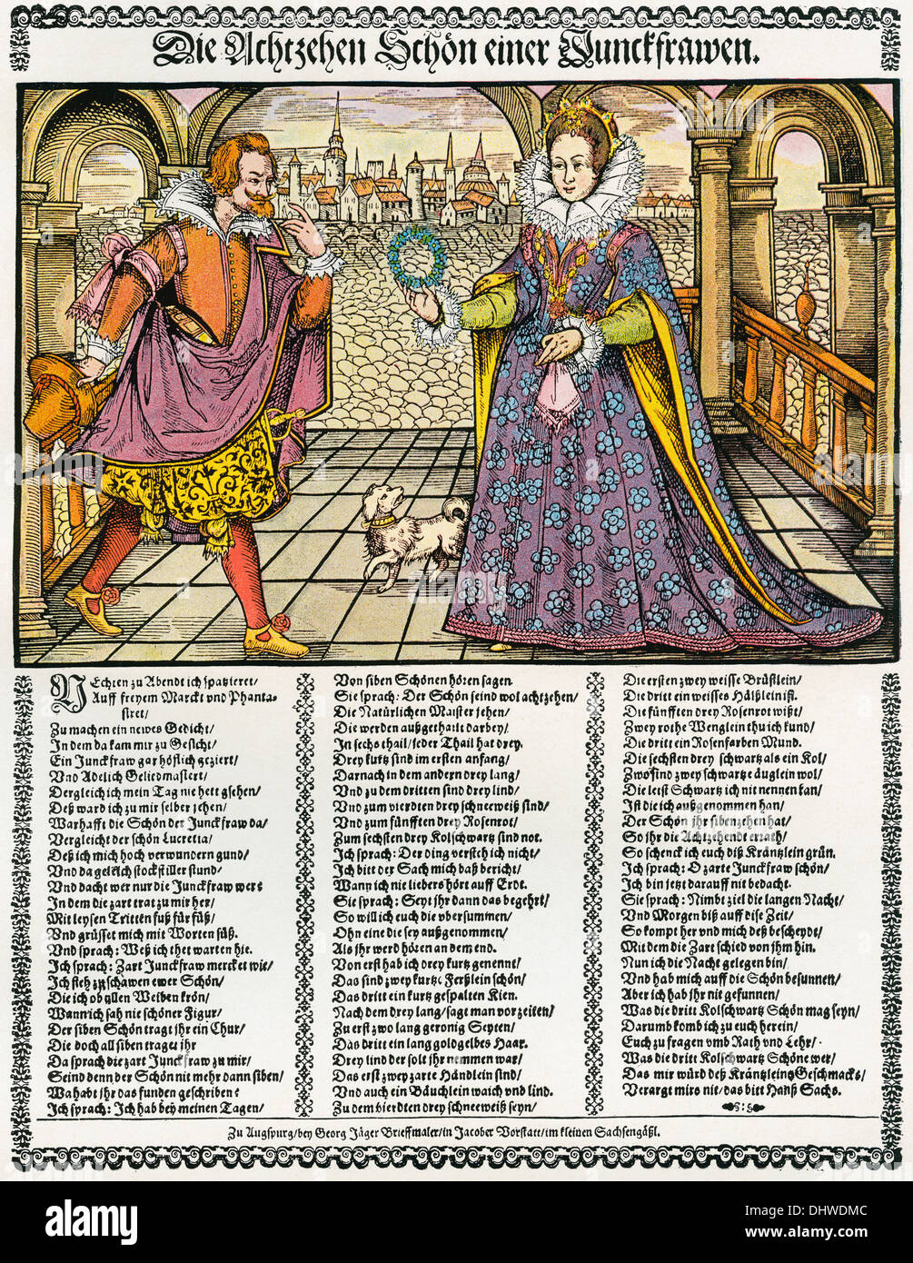 The Eighteen Virtues of a Young Maiden. After a 16th century woodcut on a poetical fly sheet by Hans Sachs. - Stock Image